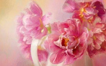 цветы, арт, рисунок, картина, фон, лепестки, букет, розовые, живопись, кувшин, мазки, пионы, композиция