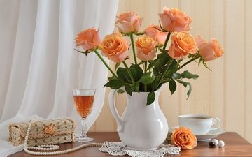 flowers, roses, bouquet, wine, tea, napkin, pearl, still life