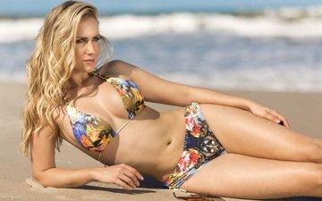 девушка, море, блондинка, пляж, модель, бикини