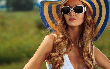 девушка, блондинка, очки, грудь, волосы, шляпа
