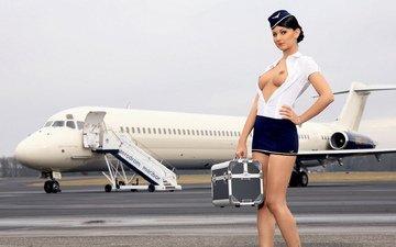 девушка, форма, грудь, фигура, сиськи, стюардесса