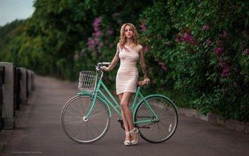девушка, фото, поза, взгляд, модель, велосипед, стоит