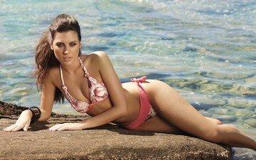 девушка, море, пляж, модель, бикини, шатенка
