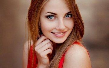 глаза, девушка, улыбка, рыжая, волосы, милашка, русская, крупно, русая