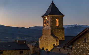 горы, башня, дома, сумерки, испания, крыши