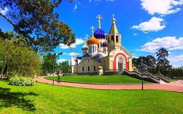 небо, облака, храм, москва, россия, церковь, переделкино, церковь святого игоря черниговского