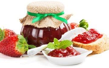 клубника, хлеб, ягоды, банка, варенье