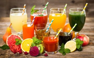 мята, фрукты, апельсин, яблоко, напитки, овощи, киви, помидор, груша, сок, огурец, фреш