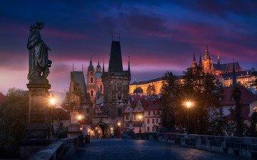 ночь, огни, мост, город, прага, карлов мост, чехия