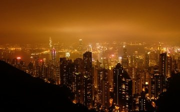 night, panorama, china, building, hong kong