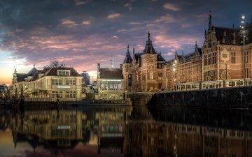 отражение, канал, дома, здания, нидерланды, амстердам