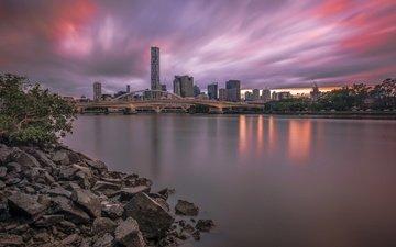 панорама, город, небоскребы, австралия, брисбен