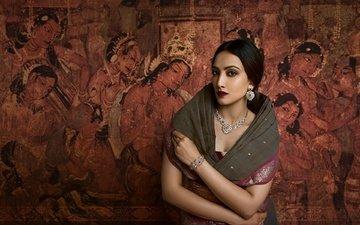 girl, pose, model, hair, lips, face, makeup, figure, jewelry, saree, indian