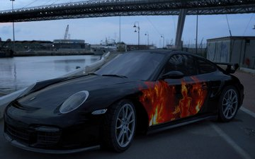the evening, promenade, hd, porsche, 3d, airbrushing