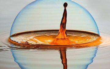 вода, капля, воды, мыльный пузырь