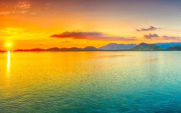 закат, море, острова, тропики