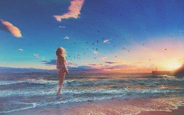 берег, волны, закат, девушка, море, пляж, горизонт, птицы, ветер