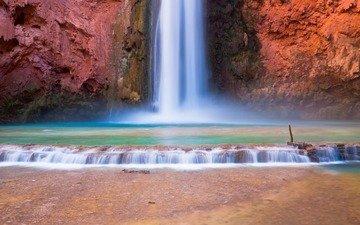 скалы, природа, водопад, сша, аризона, водопад хавасу, большой каньон