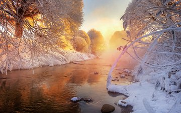 небо, вода, снег, природа, зима