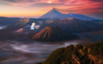 горы, восход, природа, закат, туман, вулкан, индонезия, ява, бромо, jawa