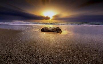 закат, пейзаж, море, песок, пляж