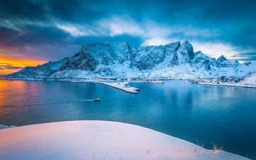 nature, winter, landscape, norway, the fjord