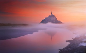 river, landscape, fog, castle, france, mont-saint-michel, mont saint-michel