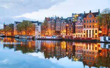 river, reflection, the city, home, netherlands, amsterdam