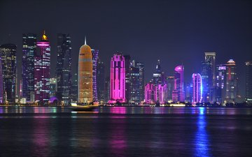 night, lights, the city, qatar, doha