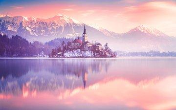 озеро, горы, природа, пейзаж, утро, туман, остров, часовня, словения, бледское озеро
