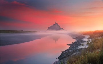 river, sunset, landscape, fog, castle, france, mont saint-michel, ilhan eroglu