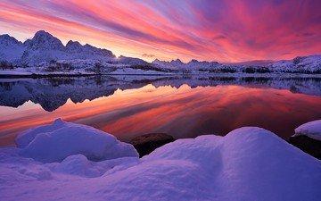 озеро, горы, природа, закат, зима, пейзаж, норвегия, лофотенские острова
