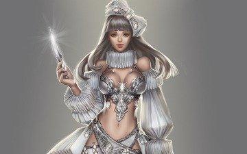 девушка, поза, взгляд, лицо, фигура, волшебница