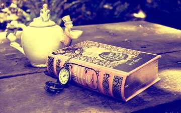 watch, alice in wonderland, tea, book