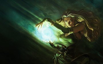 girl, blonde, look, sorceress, fireball