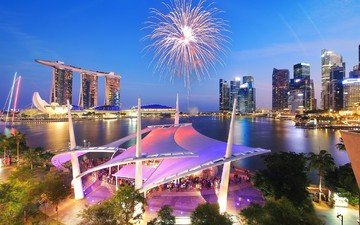 lights, salute, skyscrapers, fireworks, singapore, marina bay sands