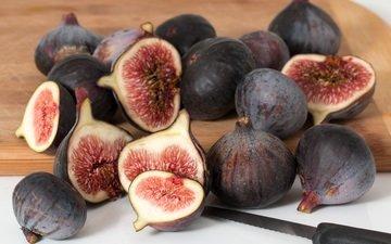 фрукты, плоды, нож, инжир, разделочная доска, нарезка