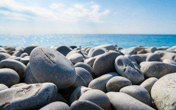 камни, берег, галька, море, пляж, океан, камень, камушки