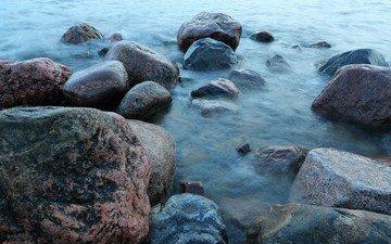 природа, камни, берег, море, валуны