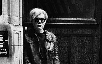 чёрно-белое, мужчина, писатель, художник, продюсер, дизайнер, кожаная куртка, энди уорхол