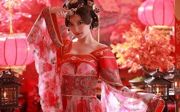 фонари, стиль, девушка, поза, взгляд, лицо, прическа, азиатка, фонарики, традиционная одежда
