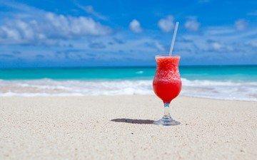 природа, море, песок, пляж, океан, коктейль, тропики