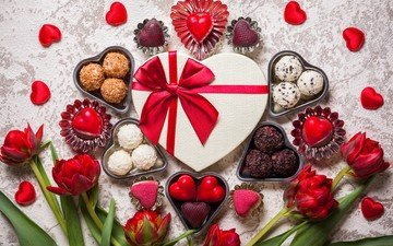 roses, candy, gift, valentine's day, 14 feb