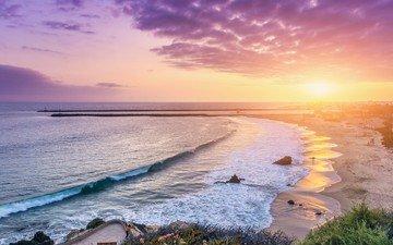 волны, закат, пляж, океан