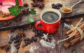 корица, зерна, кофе, чашка кофе