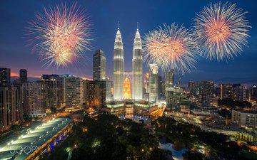 салют, город, фейерверк, малайзия, куала-лумпур