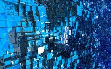 синий, графика, кубики, квадраты, кубы, 3д