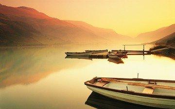 вечер, горы, закат, отражение, лодки, горное озеро