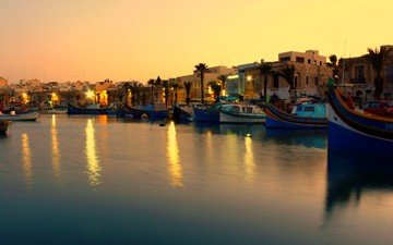 sea, boats, coast, twilight, harbour, malta, leslie vella, marsaxlokk