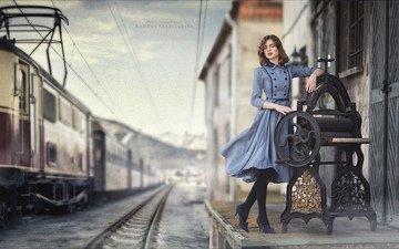 железная дорога, девушка, ретро, модель, поезд, вокзал, позирует, маргарита карева